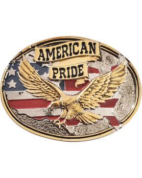 Montana Silversmiths Men's American Pride Attitude Belt Buckle, Silver, hi-res