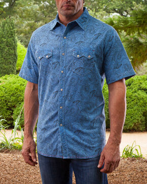 Ryan Michael Men's Distressed Paisley Short Sleeve Shirt , Bright Blue, hi-res