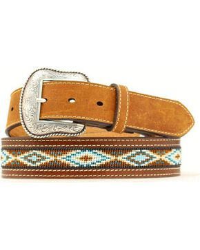 Nocona Beaded Aztec Belt, Tan, hi-res