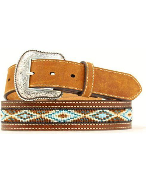 Nocona Beaded Aztec Belt, Tan, hi-res