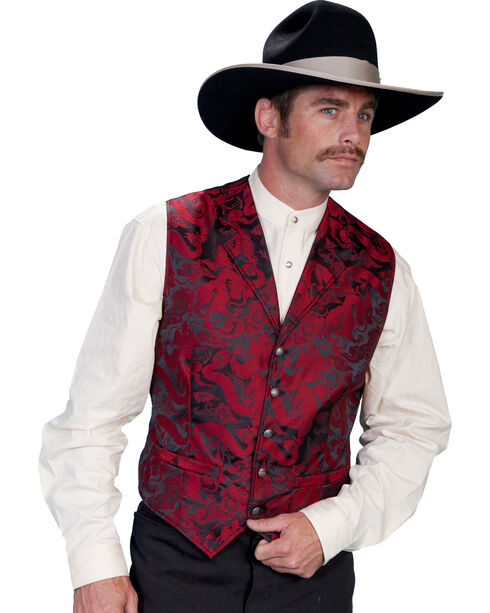 WahMaker Old West by Scully Dragon Pattern Vest - Big and Tall Sizes, , hi-res