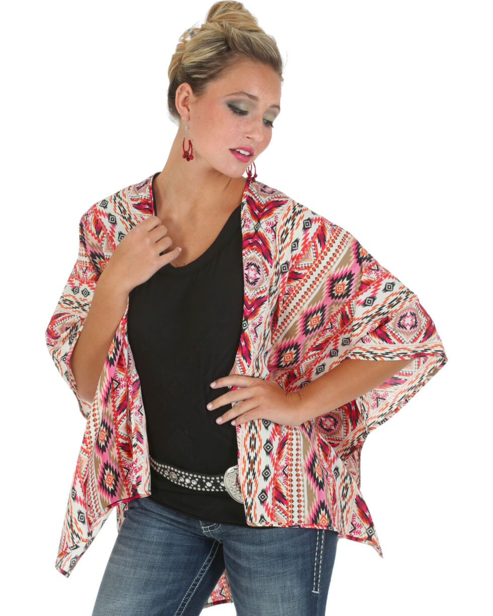 Rock 47 by Wrangler Women's Aztec Print Lace-Back Kimono, Fuchsia, hi-res