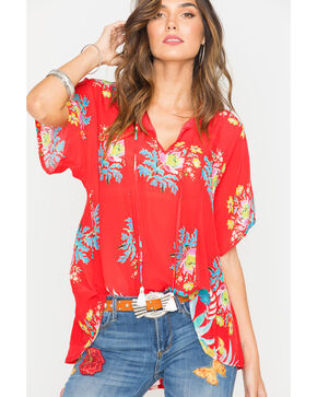 Johnny Was Women's Red Peonies Top , Medium Red, hi-res