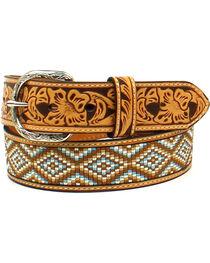 Nocona Men's Leather Diamond Fabric Belt , , hi-res