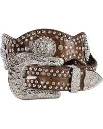 Blazin Roxx Scalloped Concho Leather Belt, , hi-res