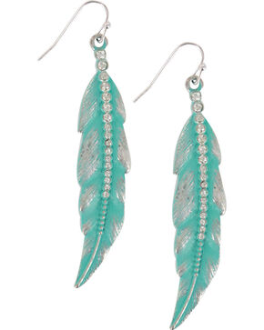 Shyanne® Women's Turquoise Feather Earrings, Turquoise, hi-res