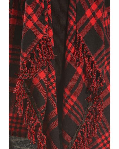 Derek Heart Girls' Red Plaid Flannel Fringe Cardigan , Red, hi-res