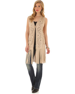Wrangler Women's Laser Cut Fringe Faux Suede Vest, Cream, hi-res