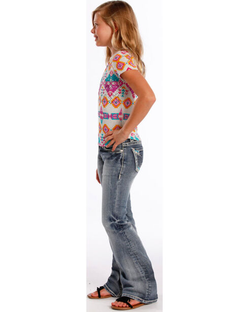 Rock & Roll Cowgirl Girls' Indigo Aztec Embroidered Jeans - Boot Cut , Indigo, hi-res