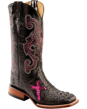 Ferrini Women's Caiman Print Cross Western Boots, Black, hi-res