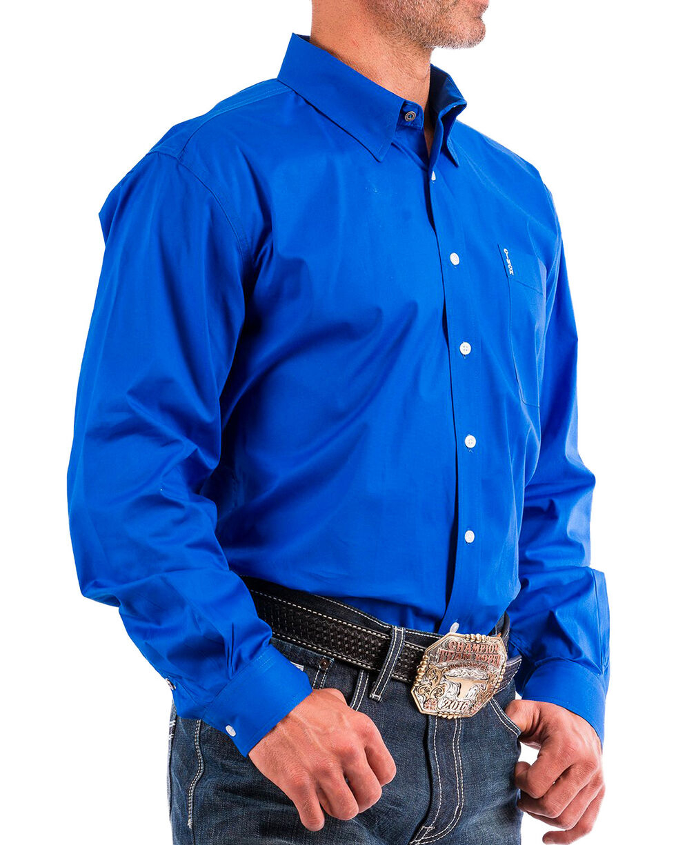 Cinch Men's Blue Modern Fit Western Button Shirt , Blue, hi-res