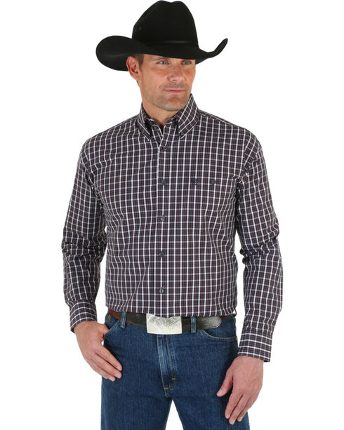 Wrangler George Strait Men's Wine Plaid Shirt - Big & Tall, Wine, hi-res