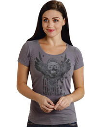 Roper Women's Gray Sugar Skull Tee, , hi-res