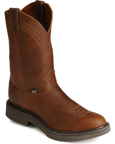 """Justin Men's 11"""" Western Work Boots, Mahogany, hi-res"""