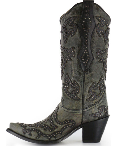Corral Women's Overlay and Stud Western Boots, Black, hi-res