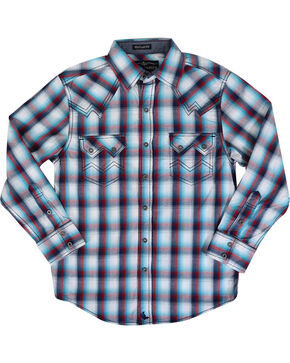 Cody James® Boys' Long Sleeve Plaid Western Shirt, Blue/white, hi-res