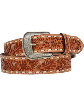 3D Men's Floral Embossed Buckstitch Western Belt, Brown, hi-res