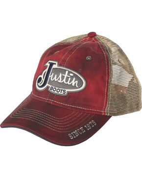 "Justin Men's ""Dirty"" Wash Trucker Hat, Red, hi-res"