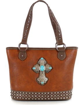 Shyanne® Women's Cross Concho Tote, Brown, hi-res