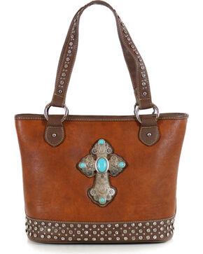 Shyanne® Women's Cross Concho Tote, Brown, hi-res