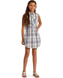 Silver Girls' Blue Plaid Shirt Dress , , hi-res
