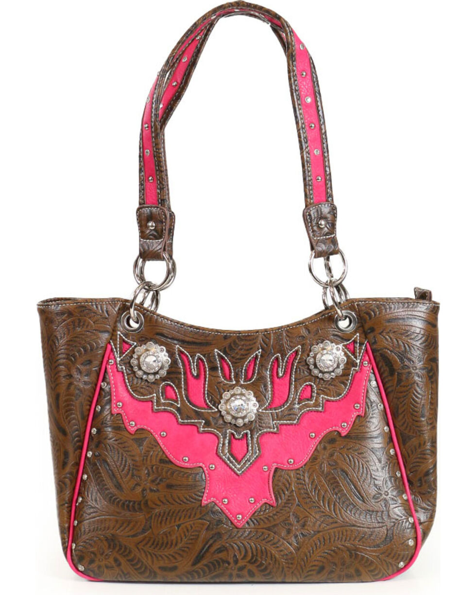 Corral Ridge Women's Rhinestone Concealed Carry Handbag, Brown, hi-res