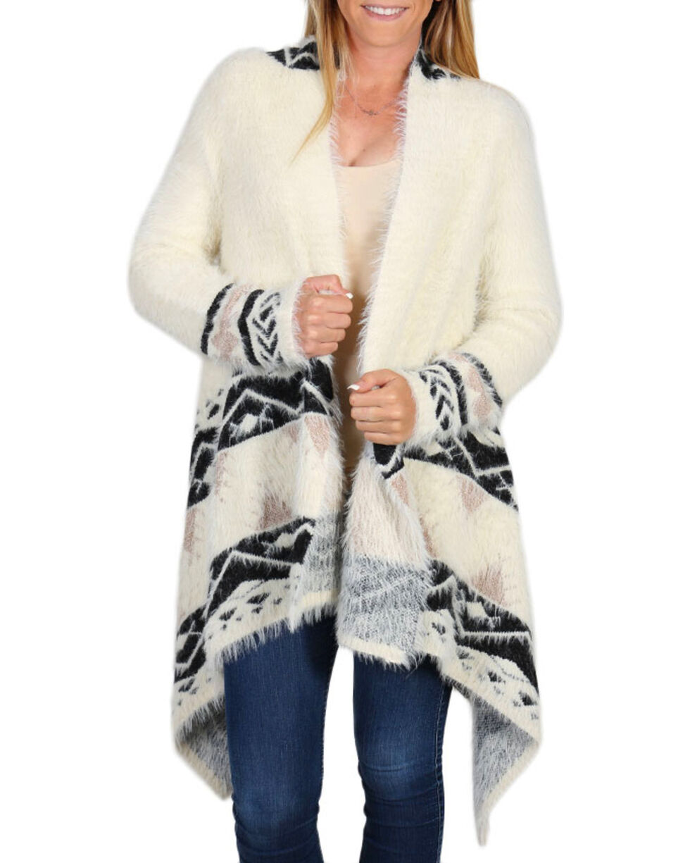 Shyanne Women's Ivory and Black Eyelash Sweater, Ivory, hi-res