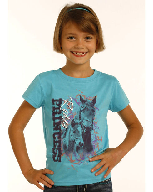Rock & Roll Cowgirl Girls' Turquoise Rodeo Princess Graphic Tee, Turquoise, hi-res