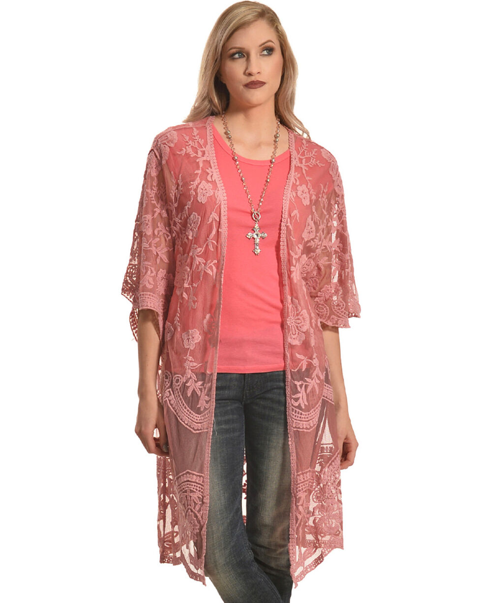 Polagram Women's Rose Lace Kimono, Pink, hi-res