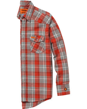 Wrangler Men's Orange FR Lightweight Work Shirt - Tall, Orange, hi-res