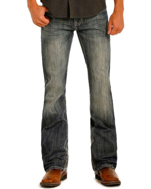 Rock & Roll Cowboy Men's Vintage Wash Boot Cut Jeans, Blue, hi-res