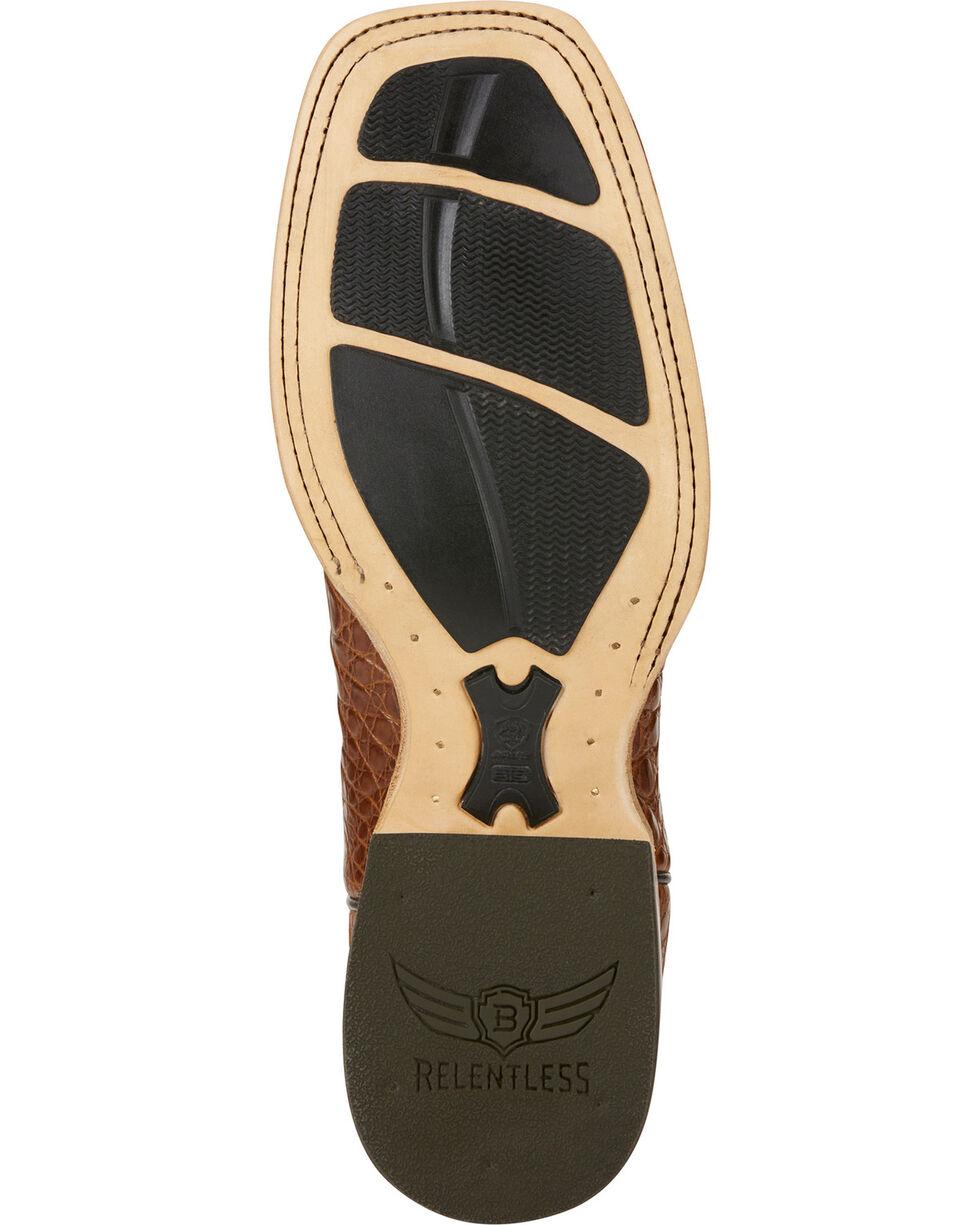 Ariat Men's Relentless Gold Buckle Caiman Exotic Boots, Brown, hi-res