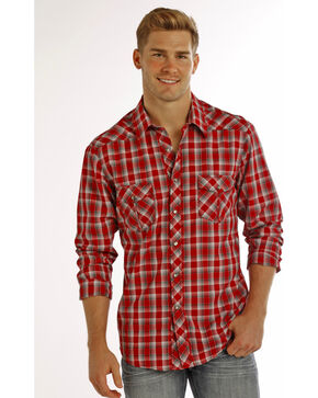 Rock & Roll Cowboy Men's Red Yarndye Plaid Long Sleeve Shirt , Red, hi-res