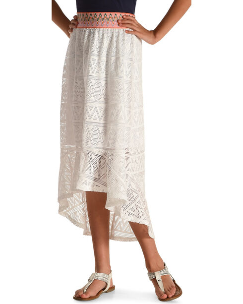Derek Heart Girls' White Hi-Lo Crochet Maxi Skirt , White, hi-res