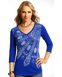 Panhandle Slim Women's Blue Raw Edge Printed Blue Shirt , , hi-res