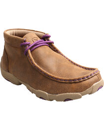 Twisted X Kid's Brown and Purple Driving Mocs, , hi-res