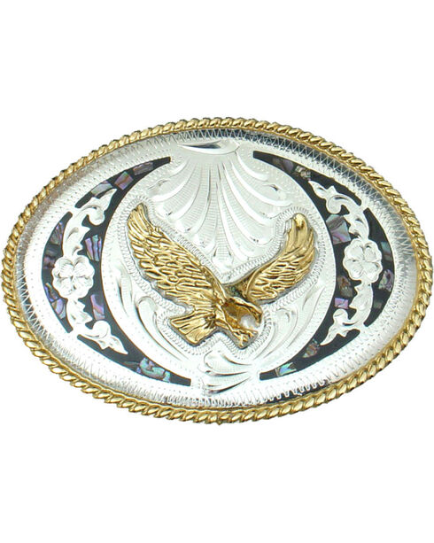Western Express Men's Silver Abalone and German Eagle Belt Buckle , Silver, hi-res