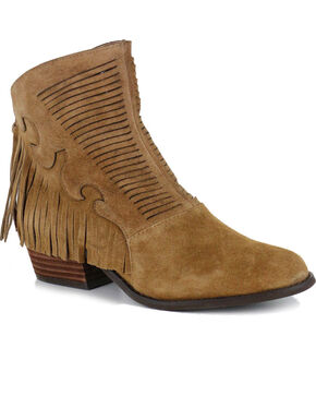 Yellow Box Women's Letty Fringe Booties, Chestnut, hi-res