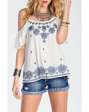 Miss Me Women's Open Shoulder Embroidered Top, Ivory, hi-res