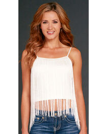 Cowgirl Up Women's White Fringe Cami, , hi-res