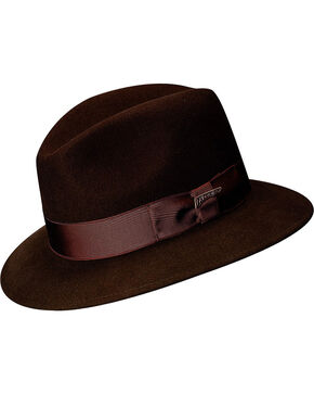 Scala Men's Brown Wool Felt Safari Hat, Brown, hi-res