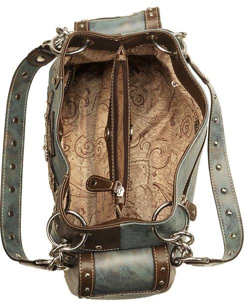 M&F Women's Blazin Roxx Stud and Cross Handbag, Blue, hi-res