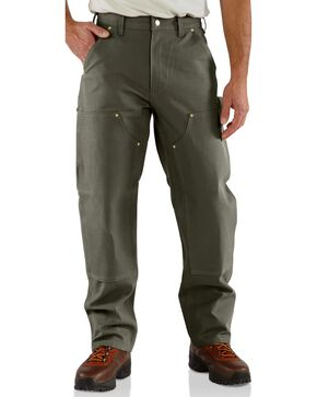 Carhartt Double Front Duck Utility Dungaree Work Pants - Big & Tall, Moss, hi-res