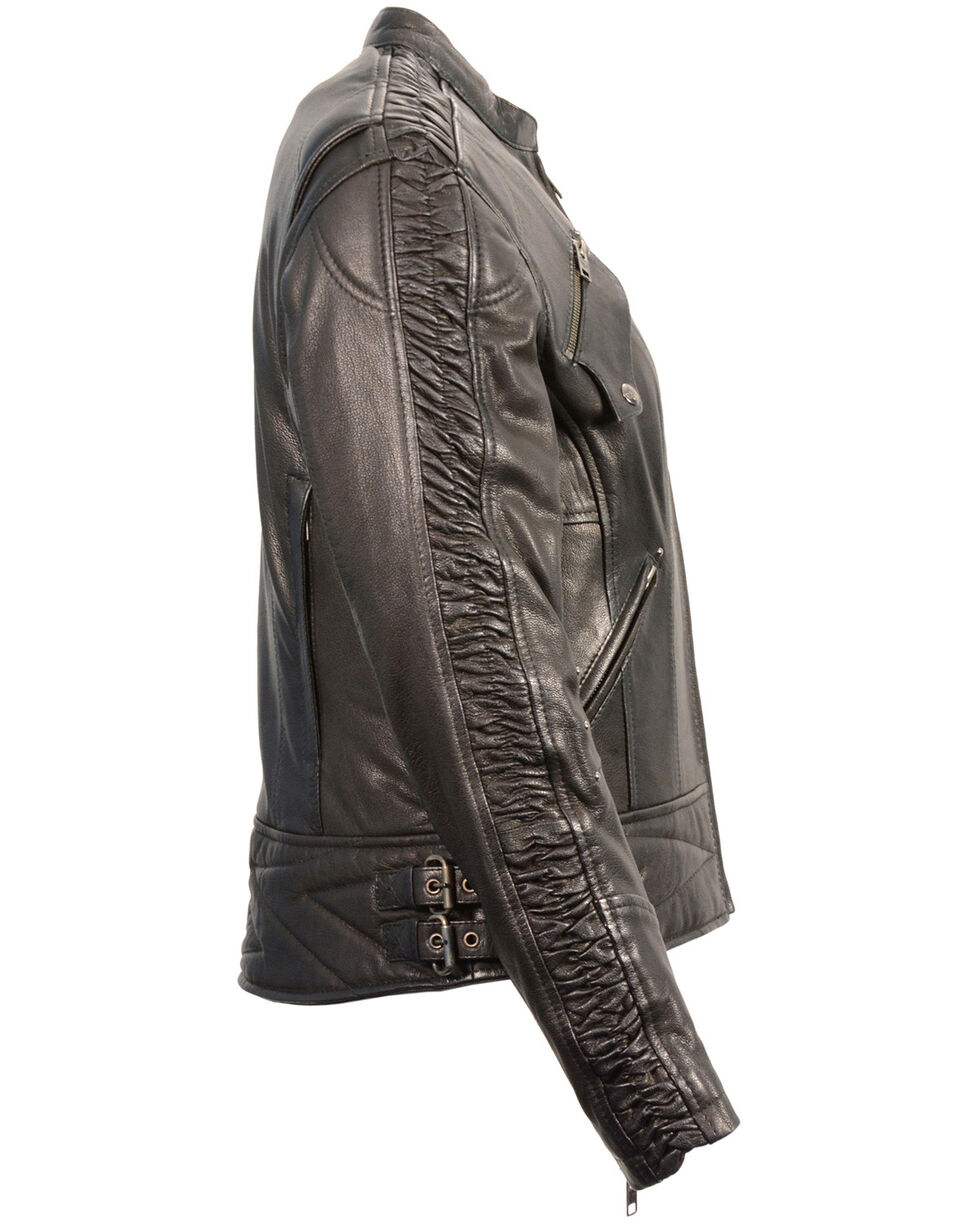 Milwaukee Leather Women's Crinkle Arm Lightweight Racer Jacket - 4X, , hi-res