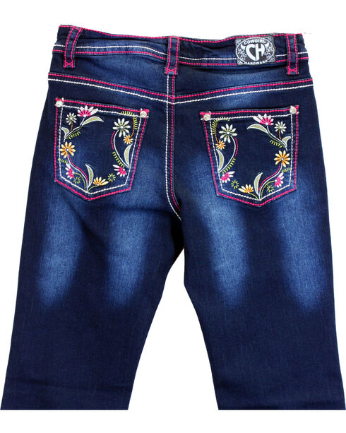 Cowgirl Hardware Toddler Girls' Floral Embroidered Jeans (12MO-6), Blue, hi-res