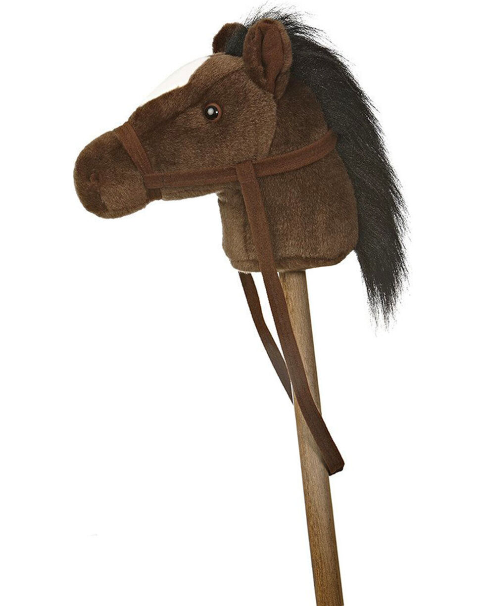 "Aurora Plush Brown 37"" Giddy Up Stick Pony , Dark Brown, hi-res"