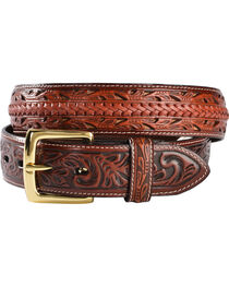 3D Tooled Filigree with Lacing Leather Belt, , hi-res