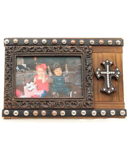 "Studded Cross Photo Frame - 4"" x 6"", Brown, hi-res"