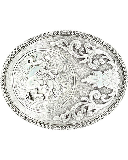 Nocona Bucking Bronco Buckle, Silver, hi-res