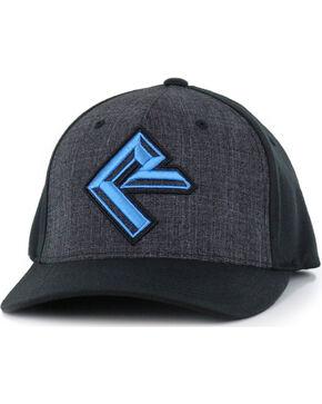 Rock & Roll Cowboy Men's Logo FlexFit Ball Cap, Charcoal, hi-res